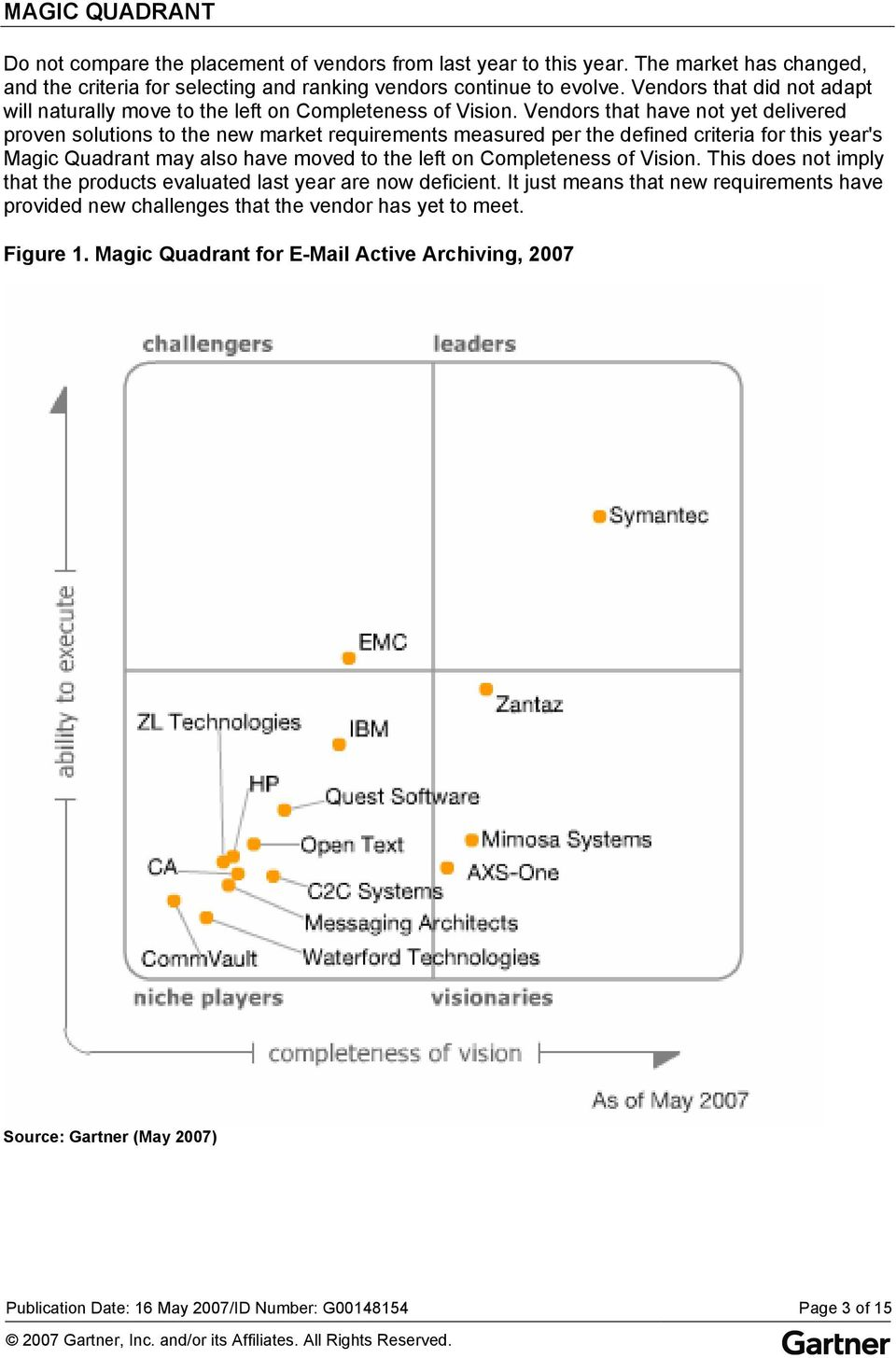 Vendors that have not yet delivered proven solutions to the new market requirements measured per the defined criteria for this year's Magic Quadrant may also have moved to the left on Completeness of