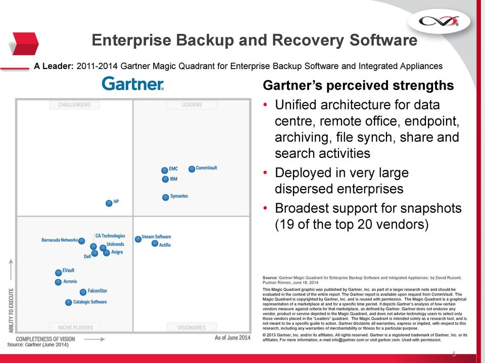 Gartner Magic Quadrant for Enterprise Backup Software and Integrated Appliances; by David Russell, Pushan Rinnen; June 16, 2014 This Magic Quadrant graphic was published by Gartner, Inc.
