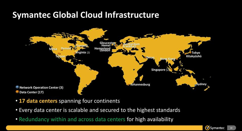 Data Center (17) 17 data centers spanning four continents Johannesburg Every data center is scalable and