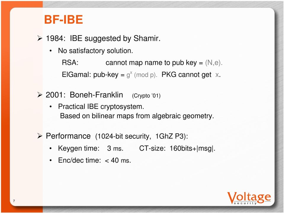 2001: Boneh-Franklin (Crypto 01) Practical IBE cryptosystem.
