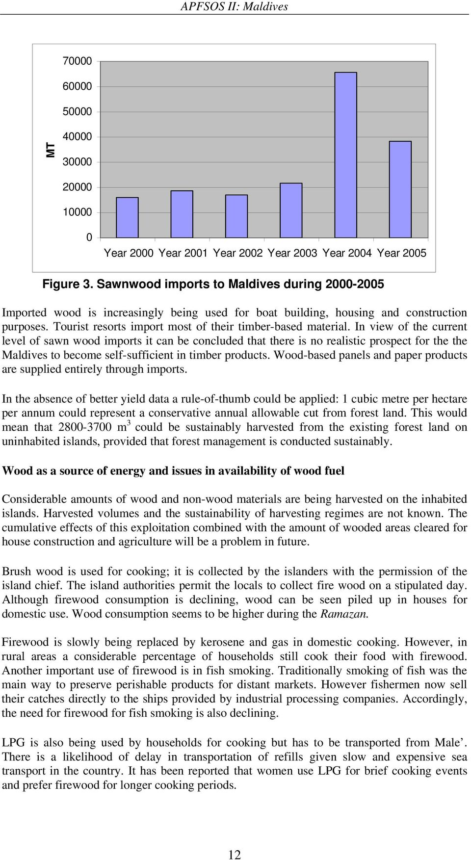 In view of the current level of sawn wood imports it can be concluded that there is no realistic prospect for the the Maldives to become self-sufficient in timber products.