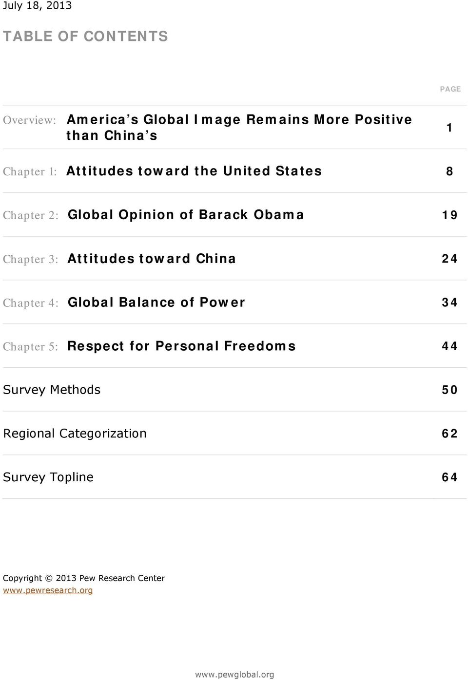 Attitudes toward China Chapter : Global Balance of Power Chapter : Respect for Personal Freedoms