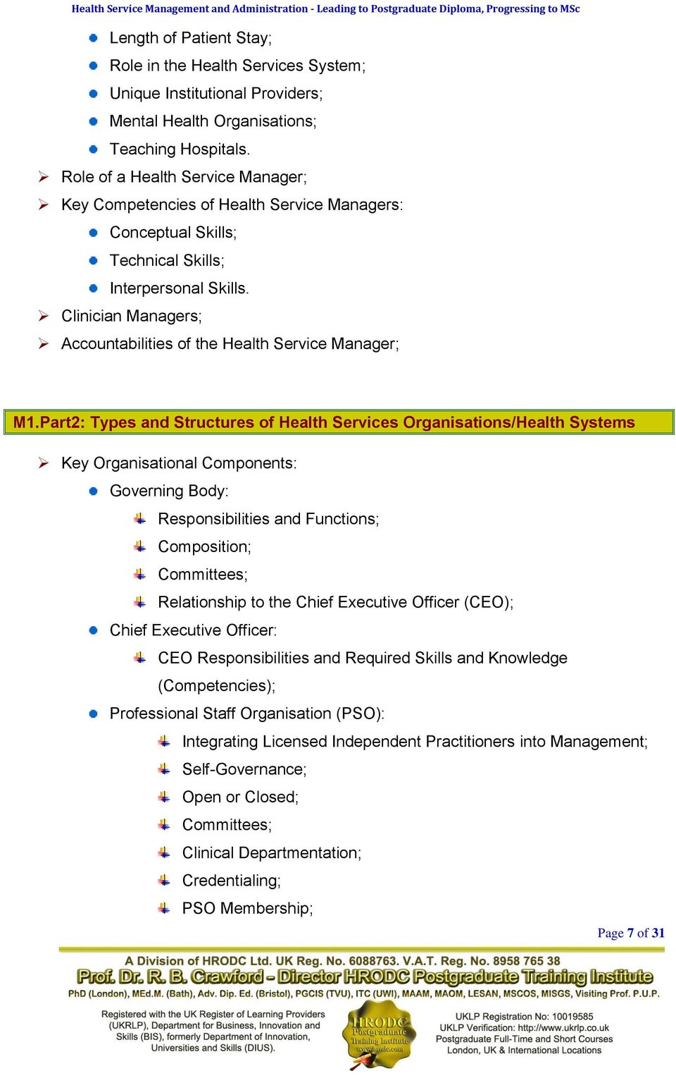 Clinician Managers; Accountabilities of the Health Service Manager; M1.