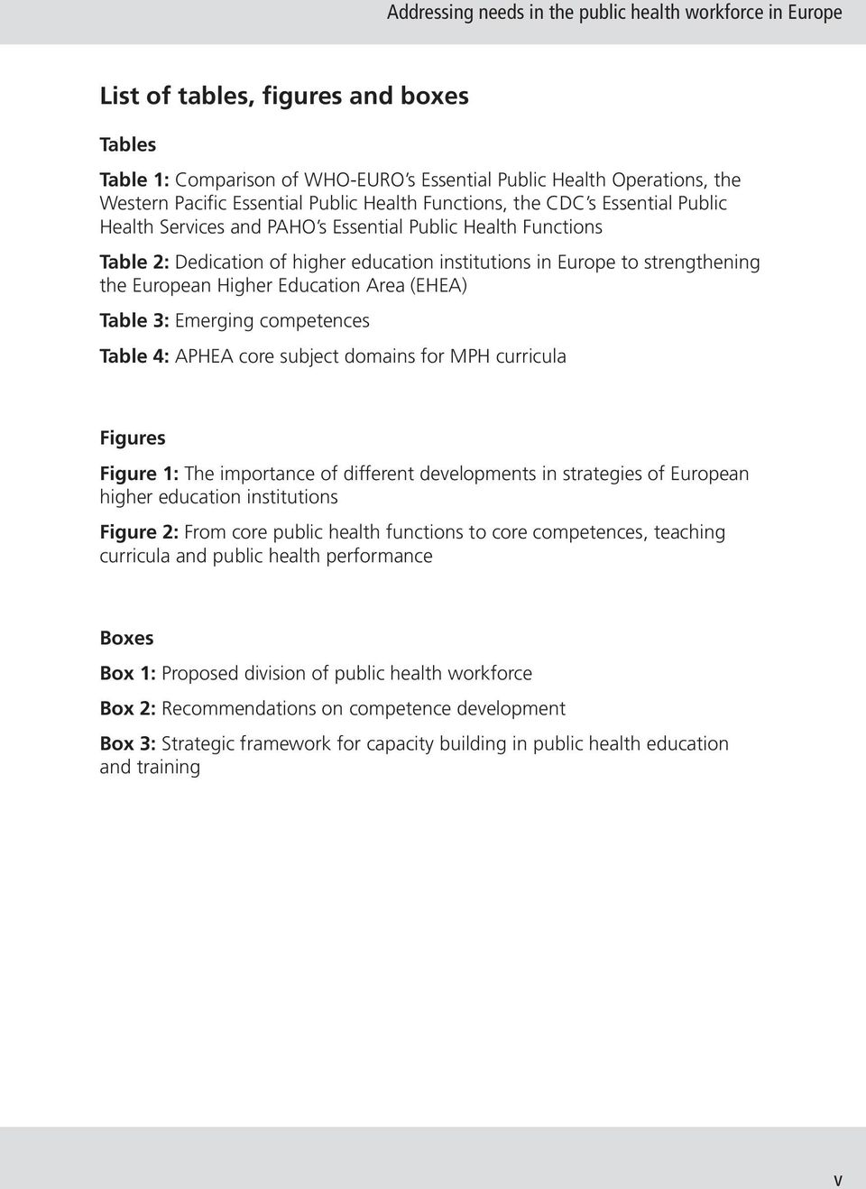 European Higher Education Area (EHEA) Table 3: Emerging competences Table 4: APHEA core subject domains for MPH curricula Figures Figure 1: The importance of different developments in strategies of