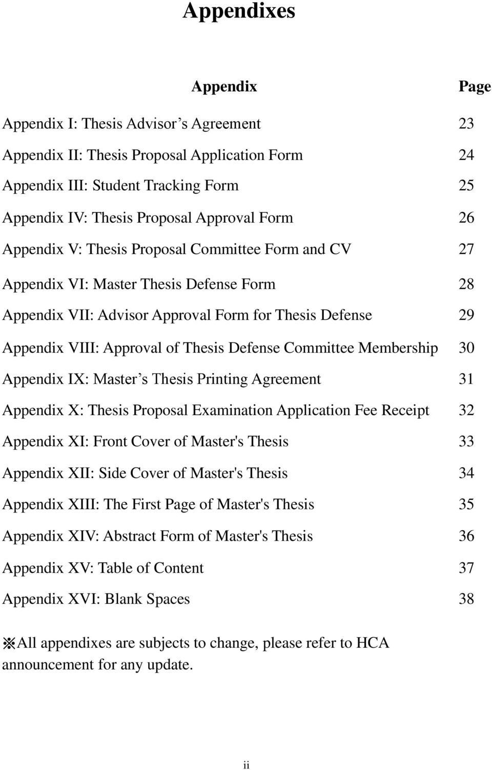 Committee Membership 30 Appendix IX: Master s Thesis Printing Agreement 31 Appendix X: Thesis Proposal Examination Application Fee Receipt 32 Appendix XI: Front Cover of Master's Thesis 33 Appendix