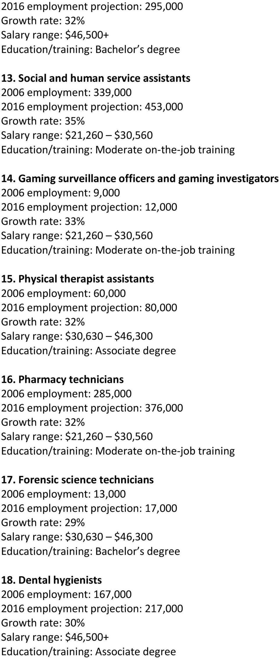 Physical therapist assistants 2006 employment: 60,000 2016 employment projection: 80,000 16.