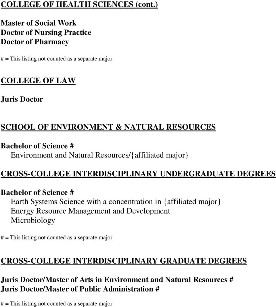 Environment and Natural Resources/{affiliated major} CROSS-COLLEGE INTERDISCIPLINARY UNDERGRADUATE DEGREES Earth Systems Science with a