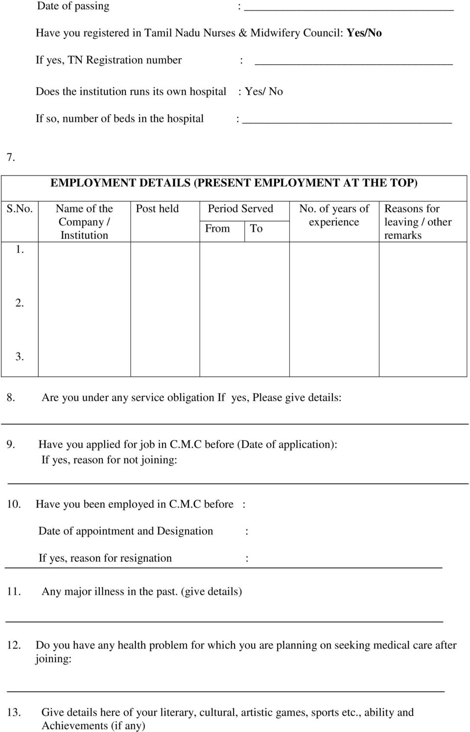 terms and conditions for the three months competency based of years of experience from to reasons for leaving other remarks 2 3