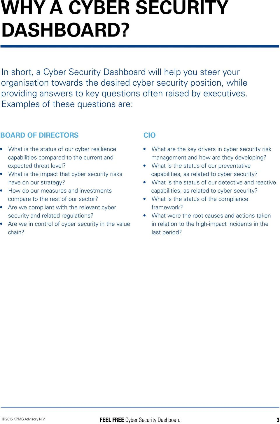 Examples of these questions are: BOARD OF DIRECTORS What is the status of our cyber resilience capabilities compared to the current and expected threat level?