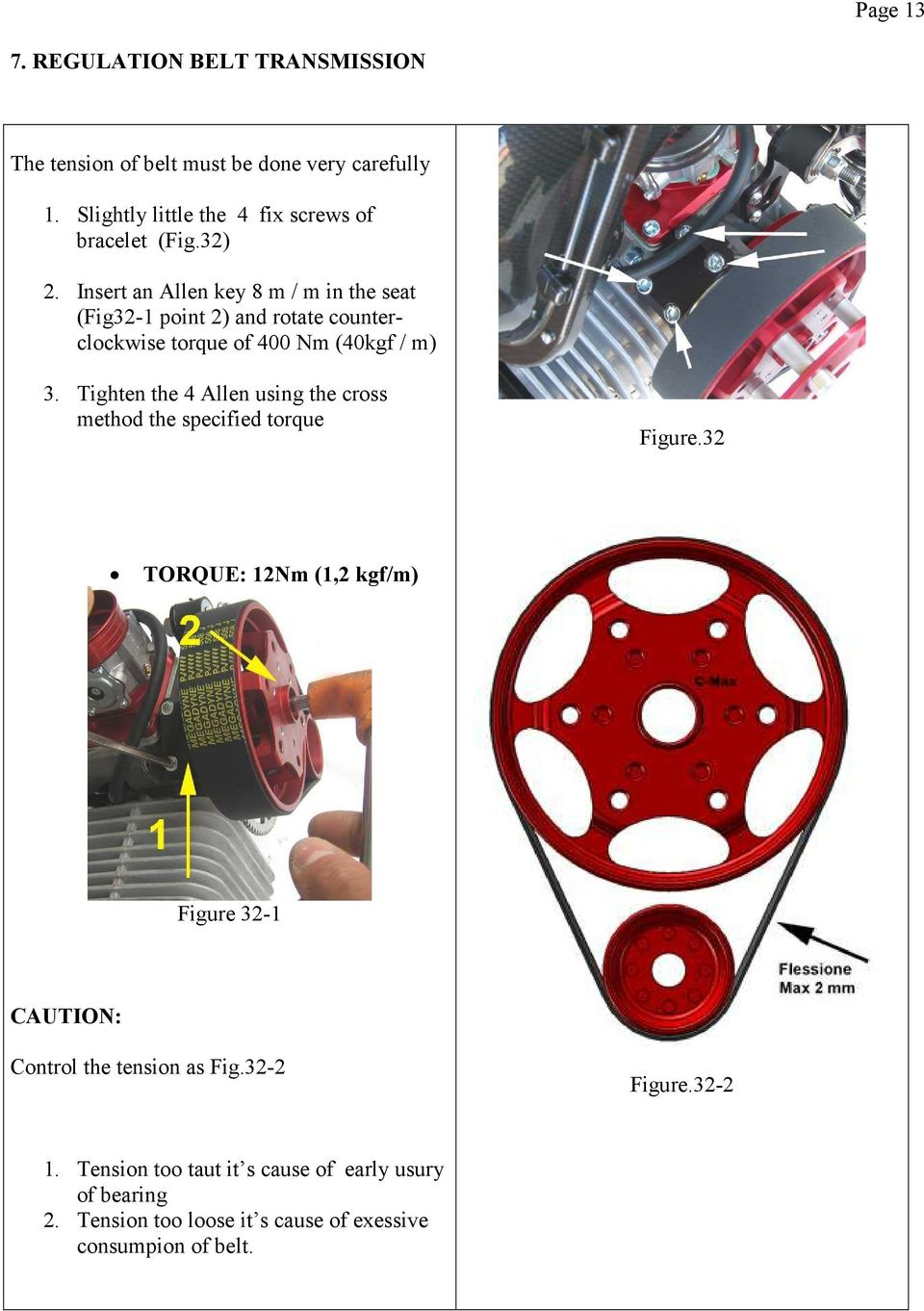 Insert an Allen key 8 m / m in the seat (Fig32-1 point 2) and rotate counterclockwise torque of 400 Nm (40kgf / m) 3.