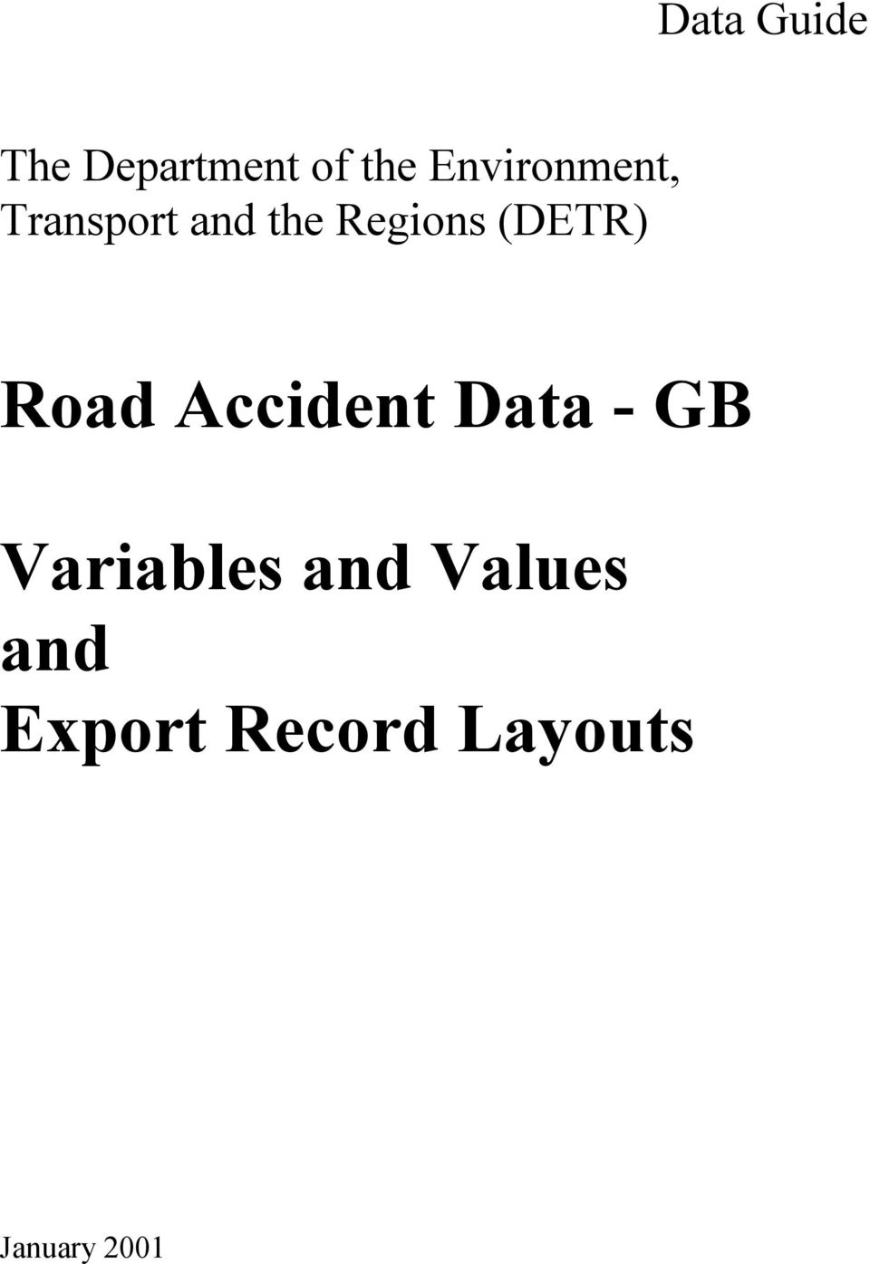 (DETR) Road Accident Data - GB Variables