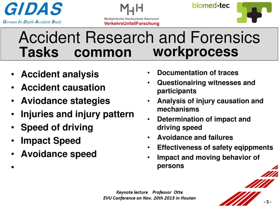 Questionairing witnesses and participants Analysis of injury causation and mechanisms Determination of impact