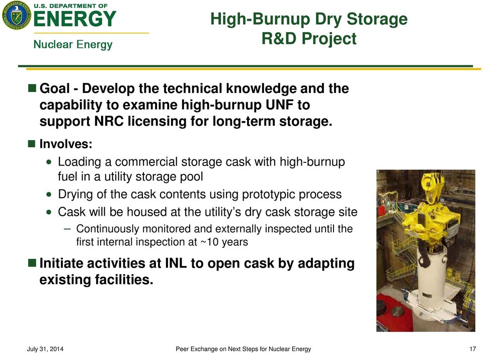 Involves: Loading a commercial storage cask with high-burnup fuel in a utility storage pool Drying of the cask contents using prototypic