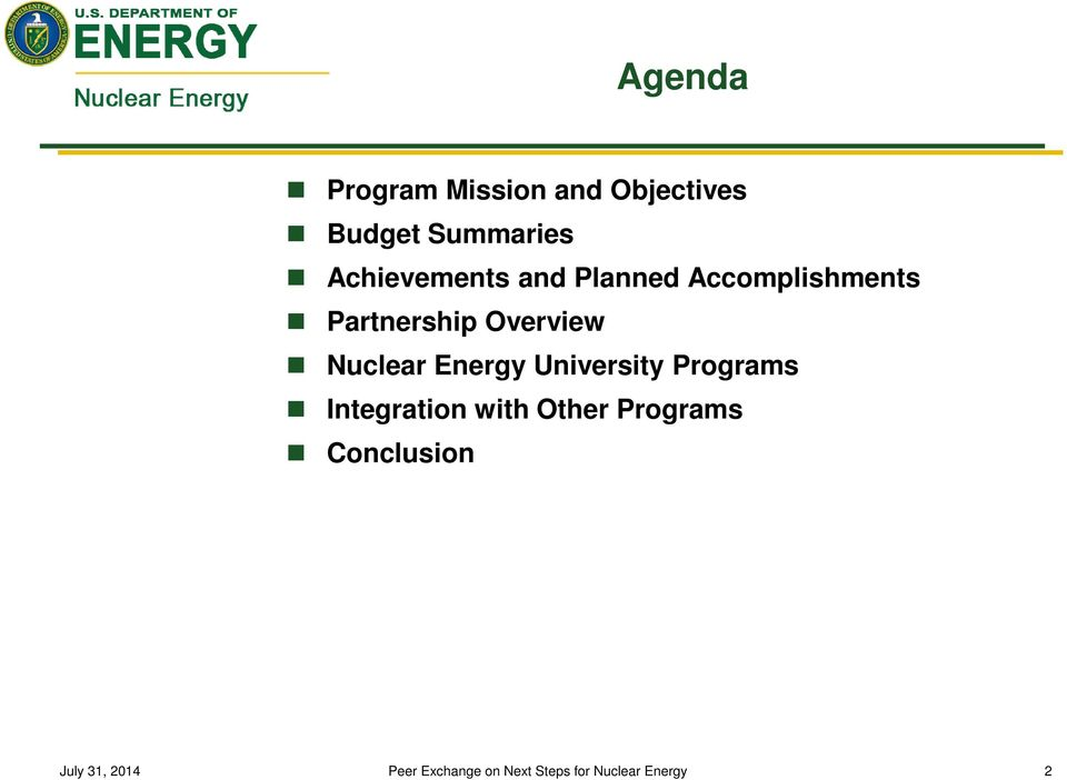 Accomplishments Partnership Overview Nuclear