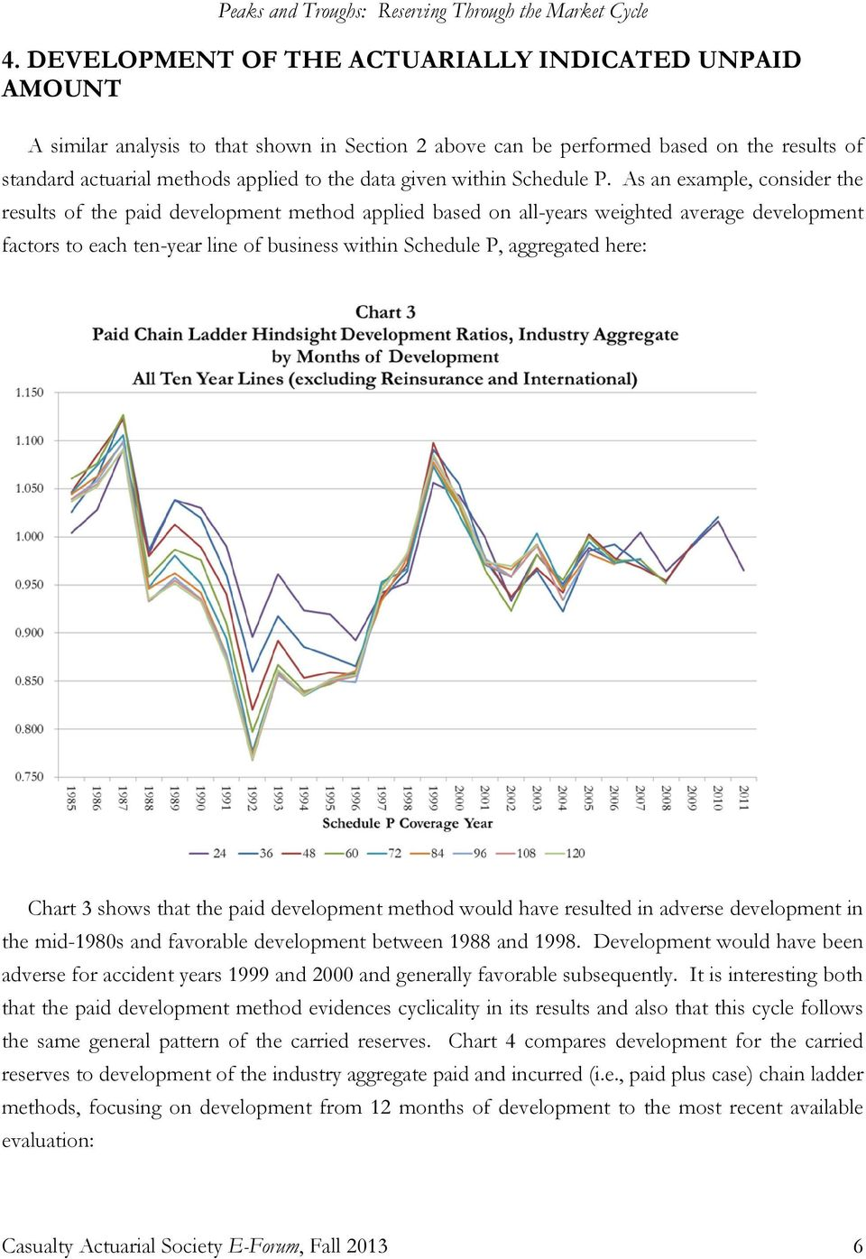 As an example, consider the results of the paid development method applied based on all-years weighted average development factors to each ten-year line of business within Schedule P, aggregated