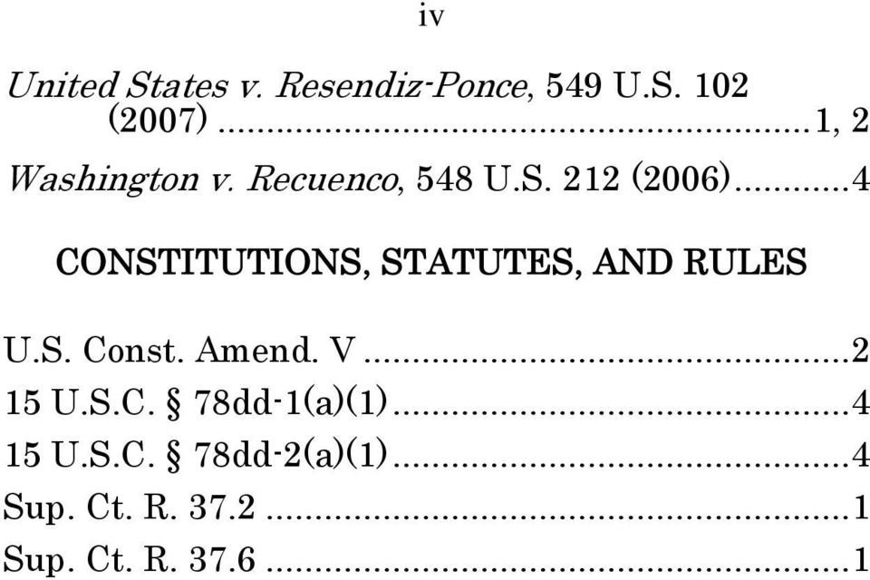 ..4 CONSTITUTIONS, STATUTES, AND RULES U.S. Const. Amend. V...2 15 U.