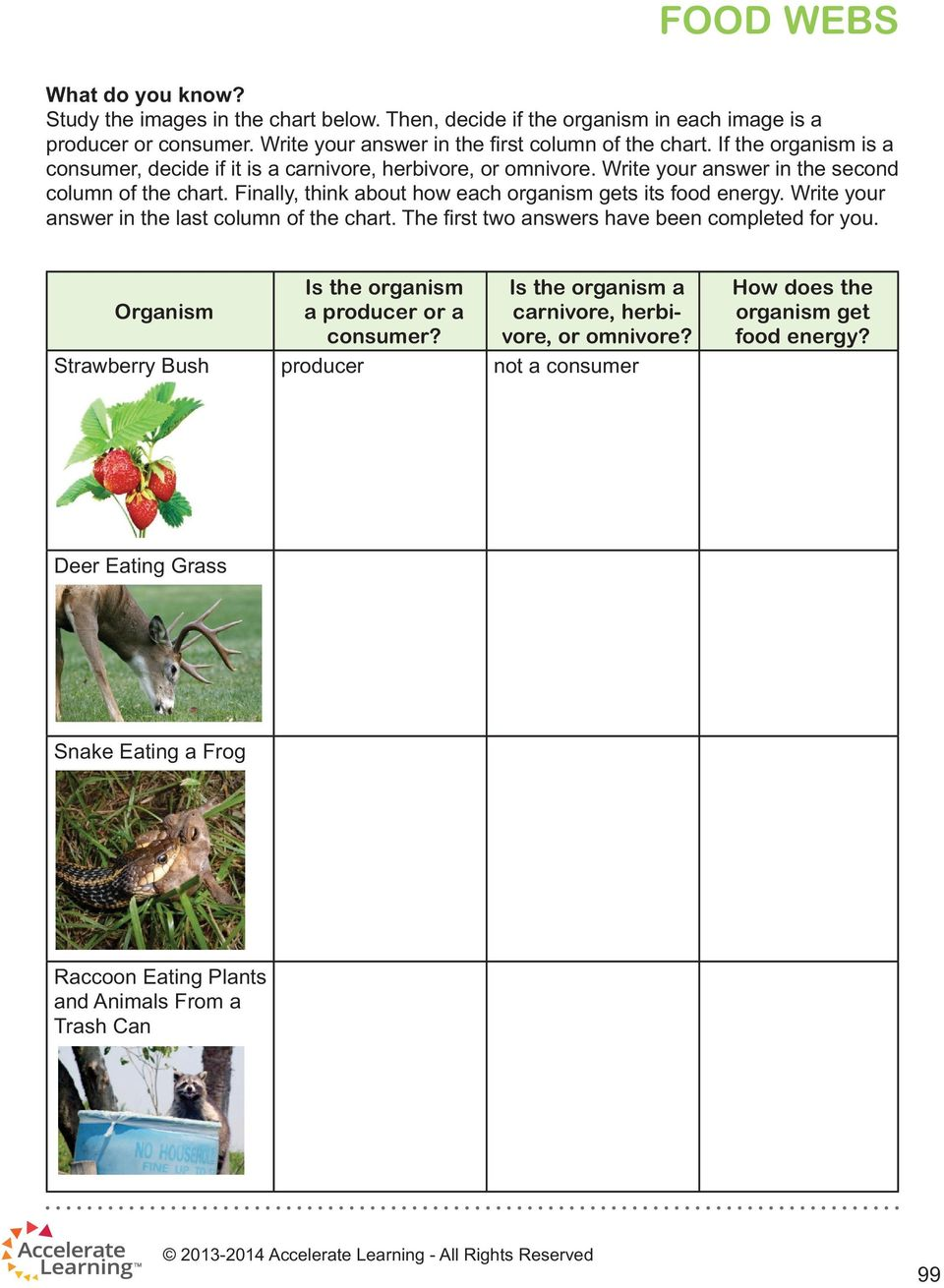 Finally, think about how each organism gets its food energy. Write your answer in the last column of the chart. The first two answers have been completed for you.