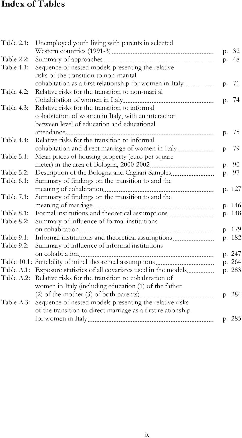 2: Relative risks for the transition to non-marital Cohabitation of women in Italy p. 74 Table 4.