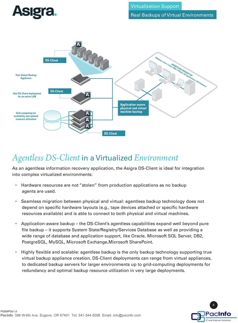complex virtualized environments: Hardware resources are not stolen from production applications as no backup agents are used.