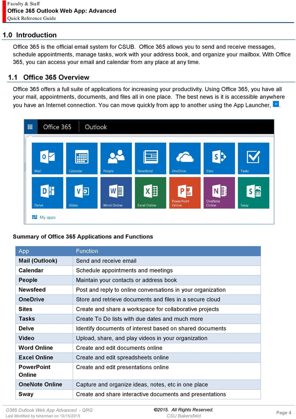 With Office 365, you can access your email and calendar from any place at any time. 1.1 Office 365 Overview Office 365 offers a full suite of applications for increasing your productivity.