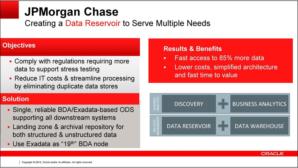 access to 85% more data Lower costs, simplified architecture and fast time to value Solution Single, reliable BDA/Exadata-based
