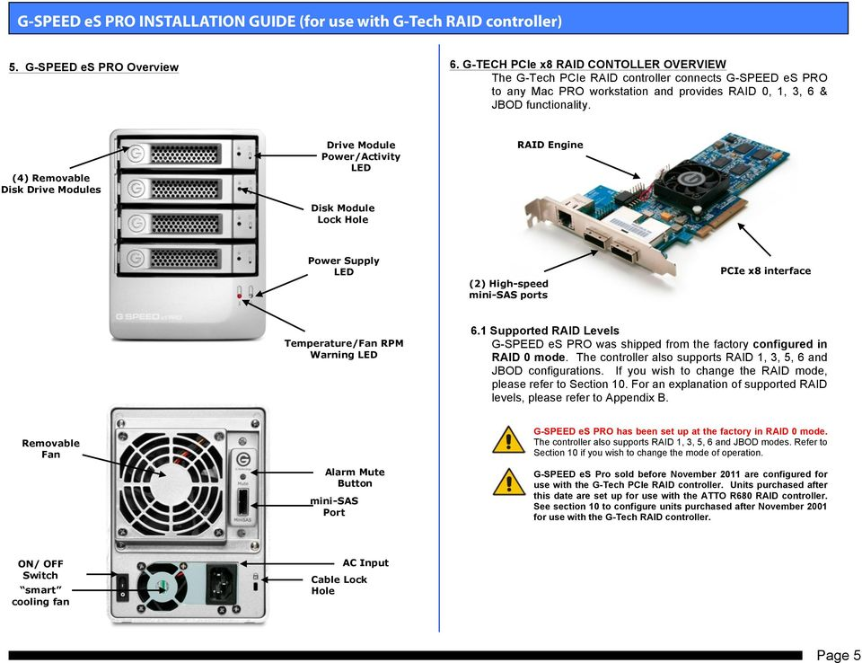 (4) Removable Disk Drive Modules Drive Module Power/Activity LED Disk Module Lock Hole RAID Engine Power Supply LED (2) High-speed mini-sas ports PCIe x8 interface Temperature/Fan RPM Warning LED 6.