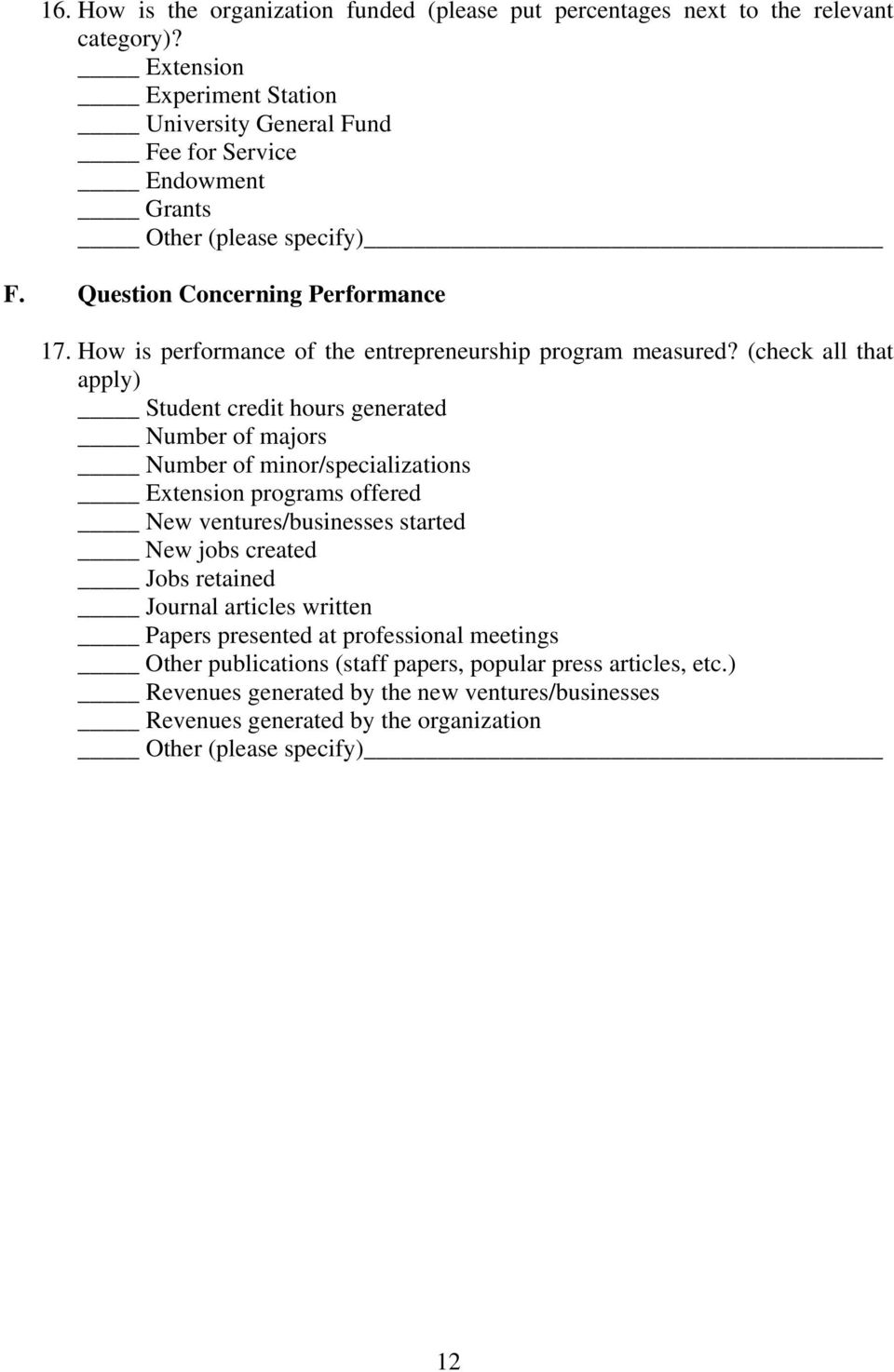 How is performance of the entrepreneurship program measured?