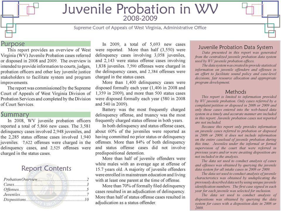 The overview is intended to provide information to courts, judges, probation officers and other key juvenile justice stakeholders to facilitate system and program improvements.