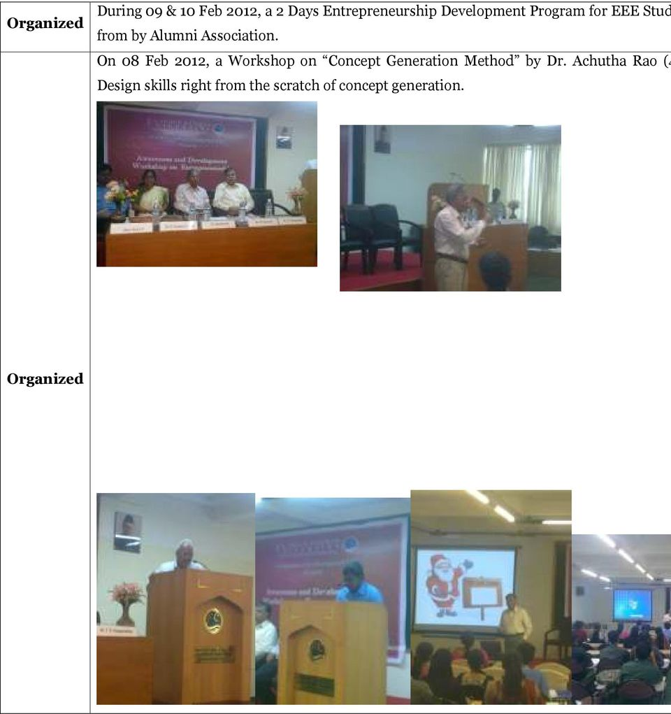 On 08 Feb 2012, a Workshop on Concept Generation Method by Dr.
