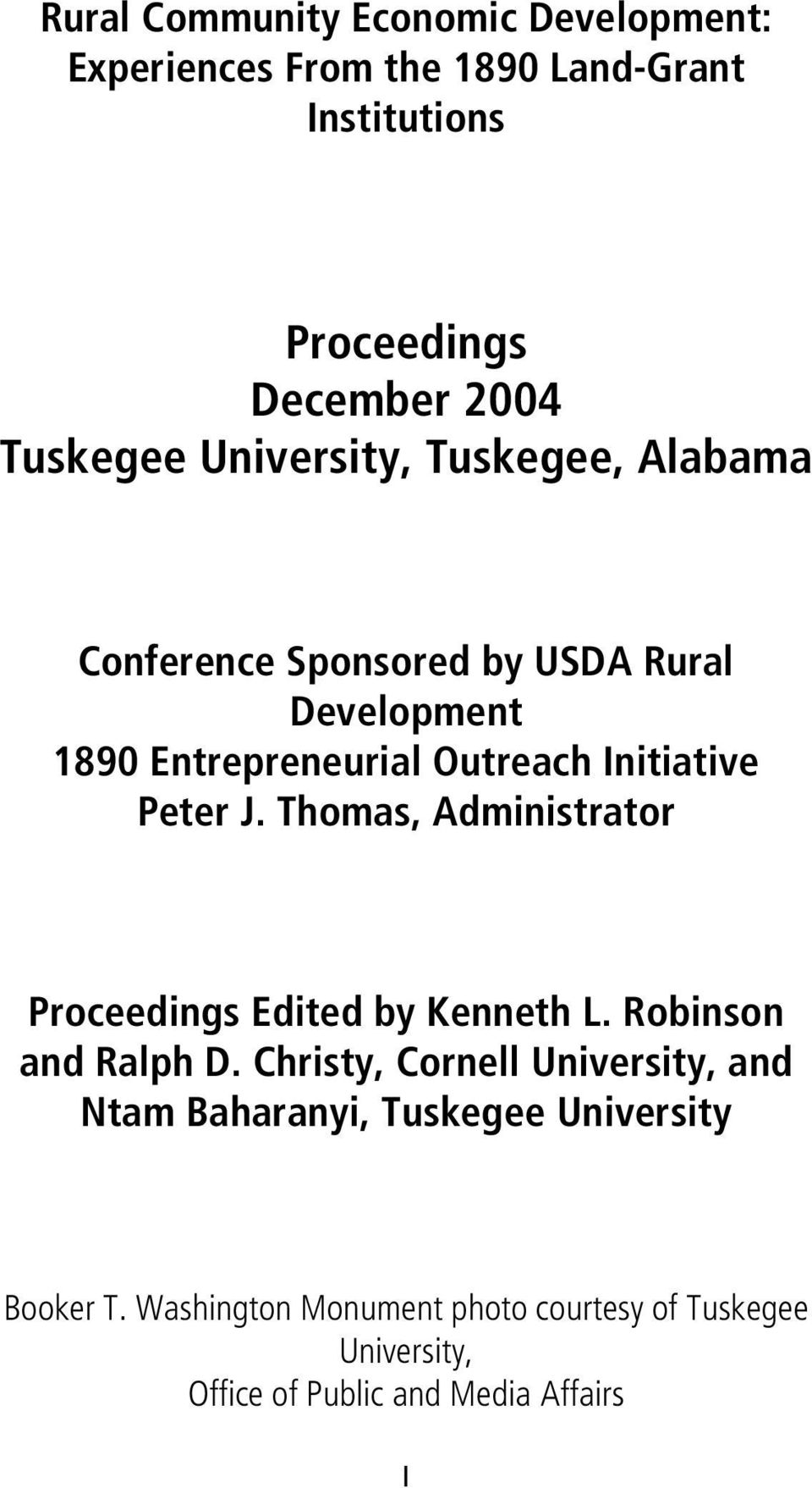 Thomas, Administrator Proceedings Edited by Kenneth L. Robinson and Ralph D.