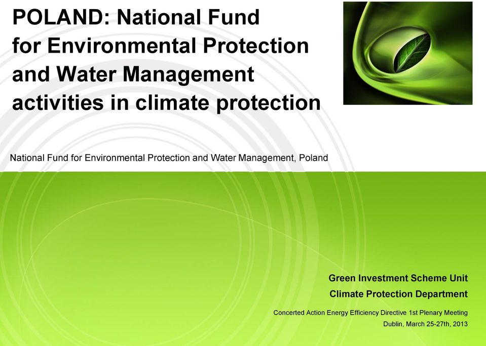 Water Management, Poland Green Investment Scheme Unit Climate Protection