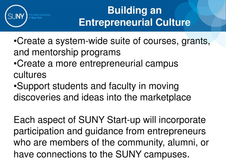 discoveries and ideas into the marketplace Each aspect of SUNY Start-up will incorporate participation