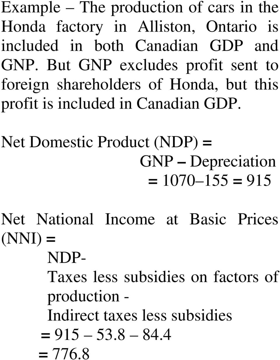 But GNP excludes profit sent to foreign shareholders of Honda, but this profit is included in Canadian GDP.