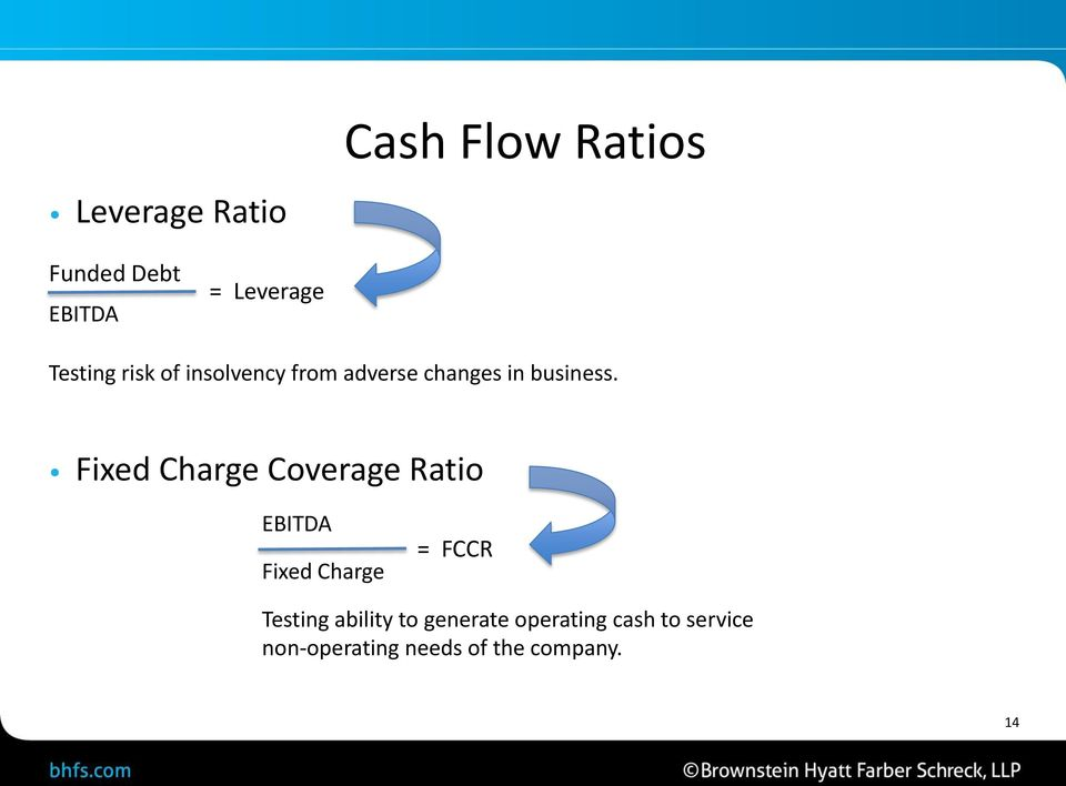 Fixed Charge Coverage Ratio EBITDA Fixed Charge = FCCR Testing