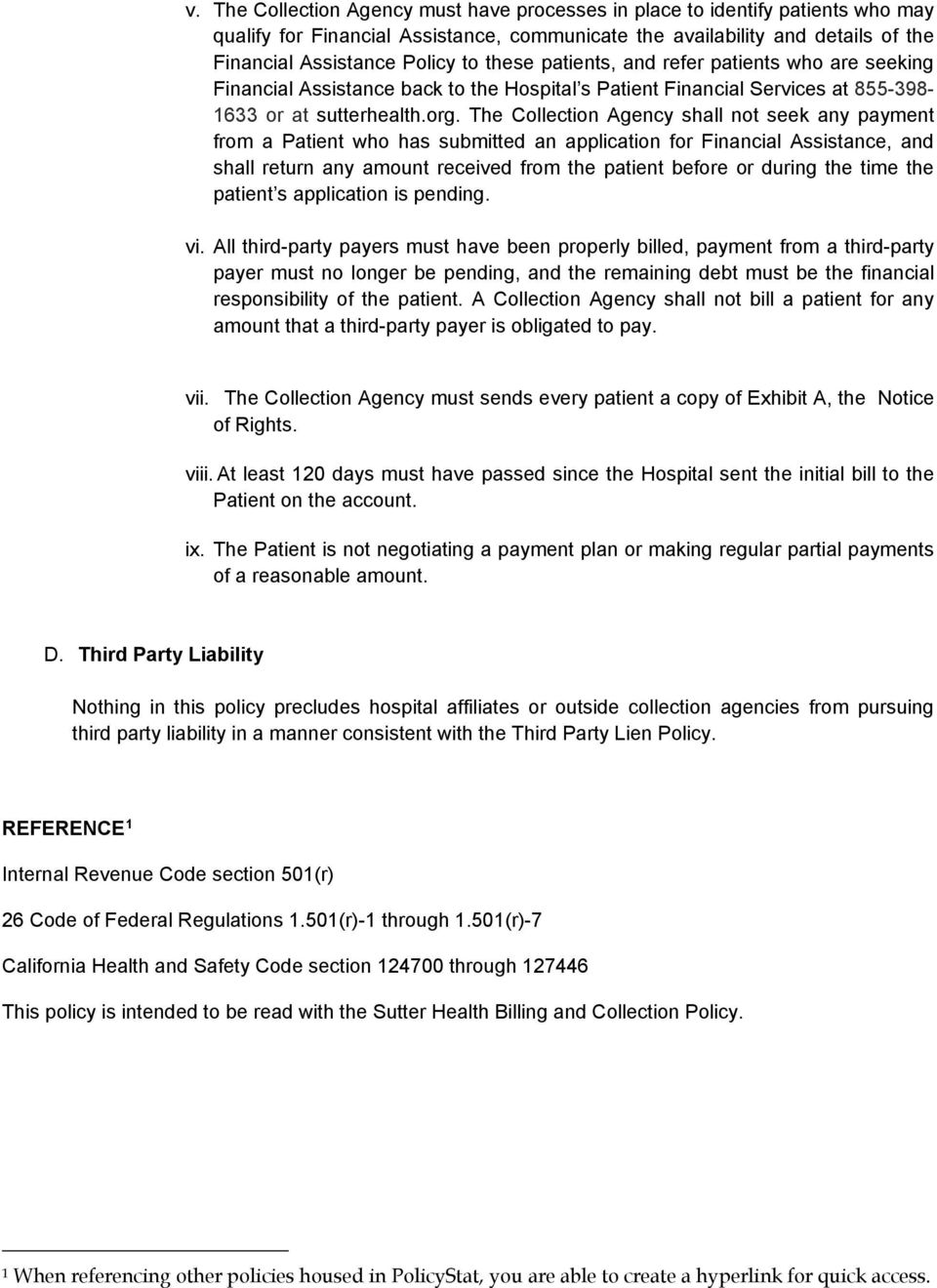 POLICY ON Billing and Collections for Sutter Health