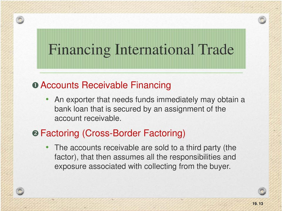 Factoring (Cross-Border Factoring) The accounts receivable are sold to a third party (the