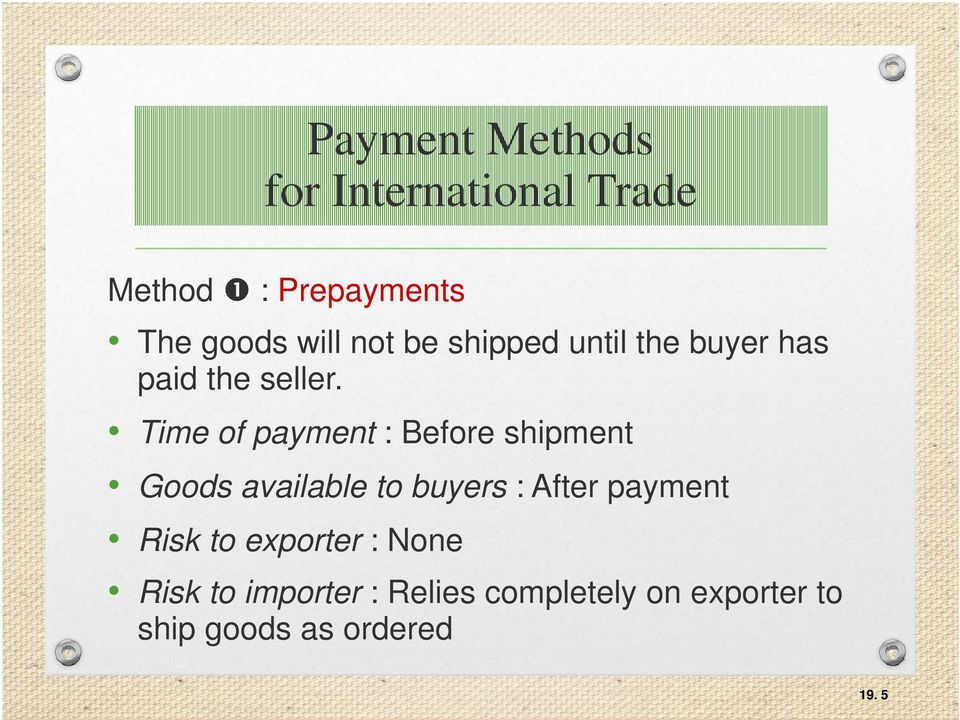 Time of payment : Before shipment Goods available to buyers : After payment