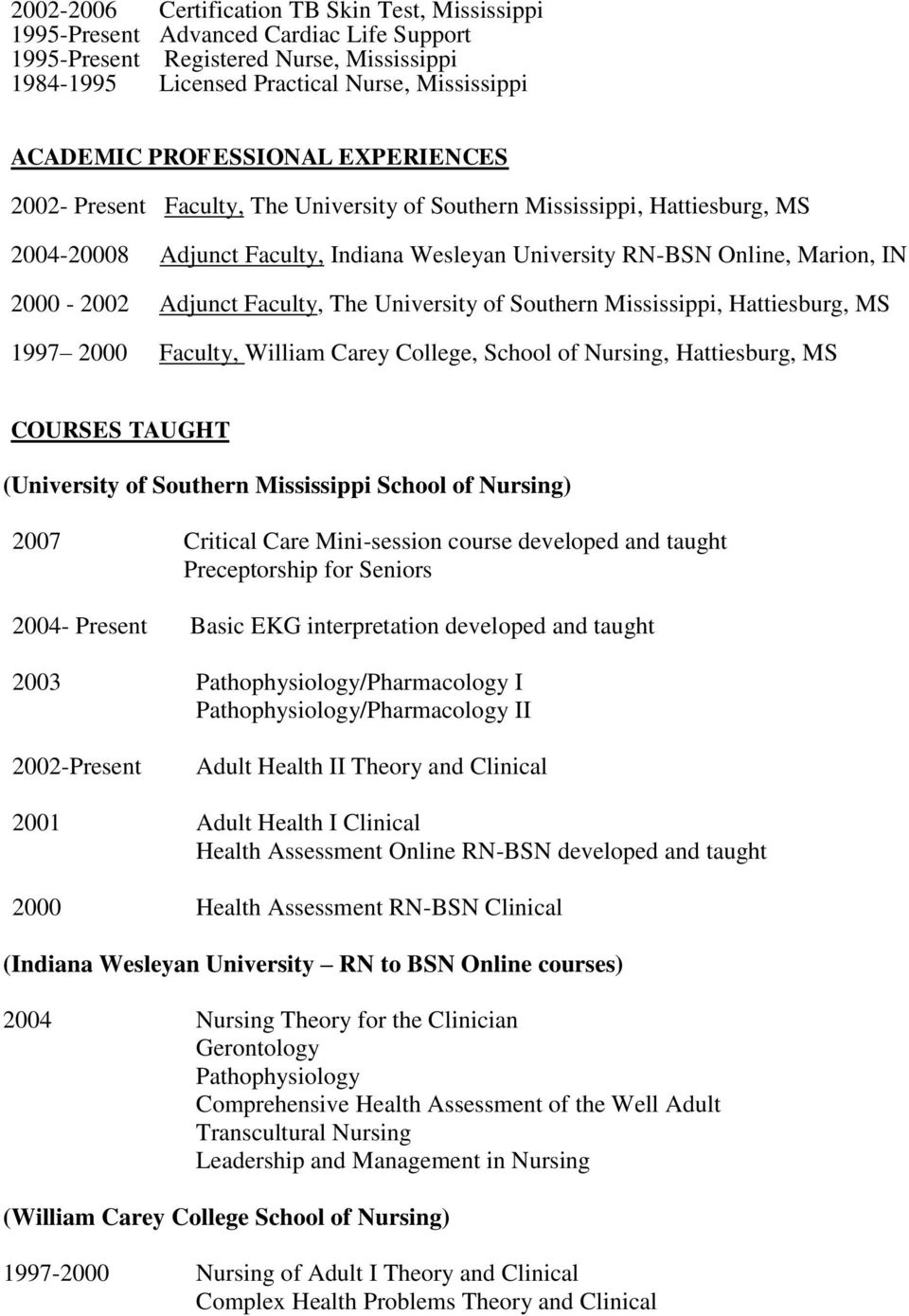 Adjunct Faculty, The University of Southern Mississippi, Hattiesburg, MS 1997 2000 Faculty, William Carey College, School of Nursing, Hattiesburg, MS COURSES TAUGHT (University of Southern