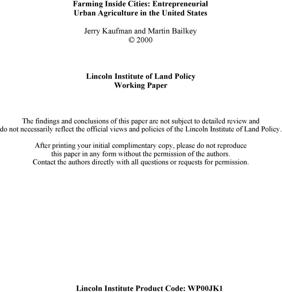 policies of the Lincoln Institute of Land Policy.