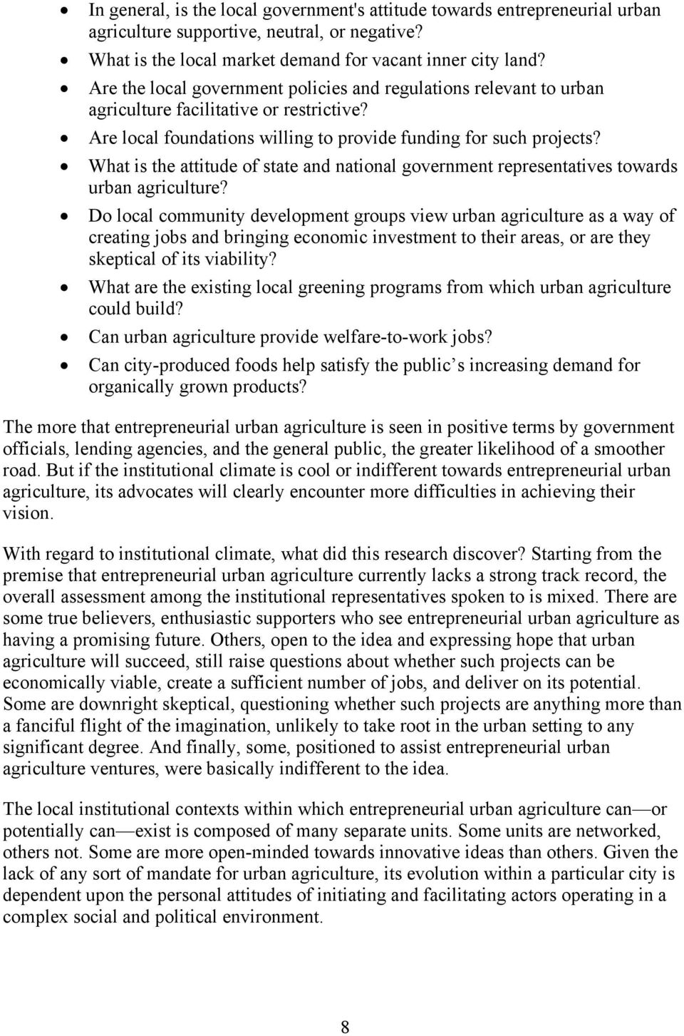 ! What is the attitude of state and national government representatives towards urban agriculture?