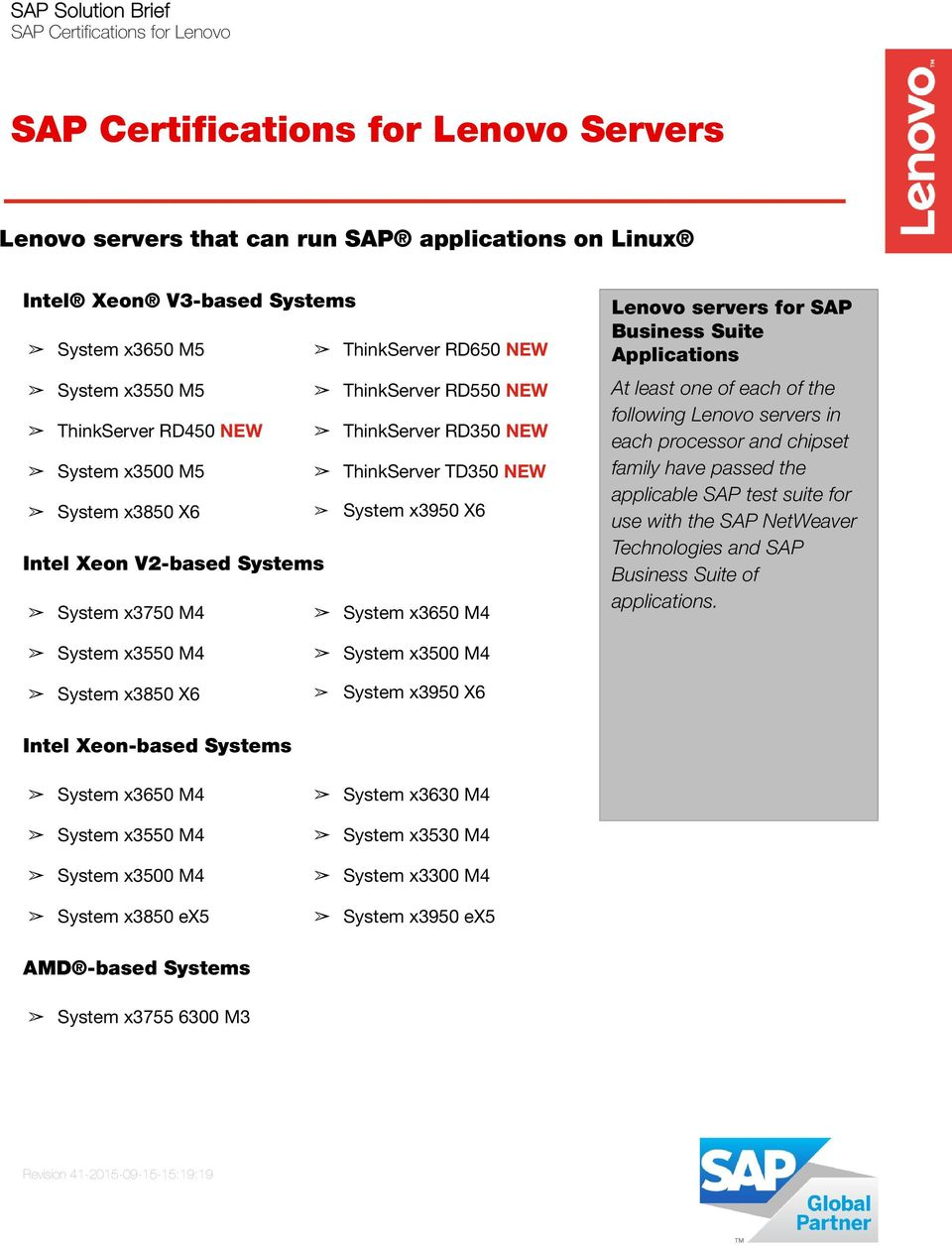 SAP Business Suite Applications following Lenovo servers in use with the SAP NetWeaver Technologies and SAP Business Suite of applications.