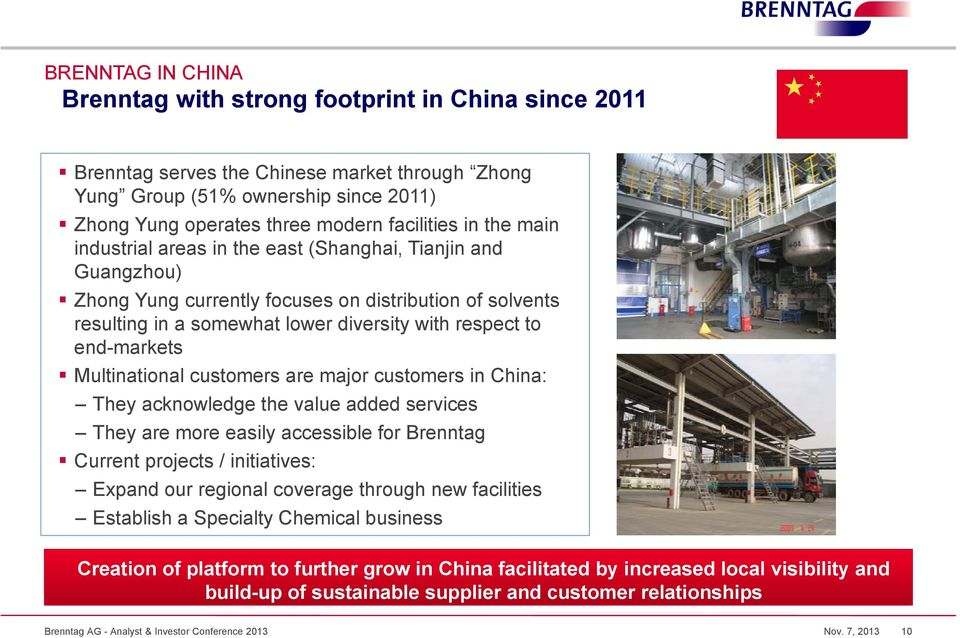 Multinational customers are major customers in China: They acknowledge the value added services They are more easily accessible for Brenntag Current projects / initiatives: Expand our regional