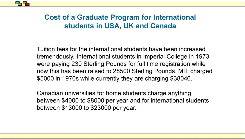 International students in Imperial College in 1973 were paying 230 Sterling Pounds for full time registration while now this has been
