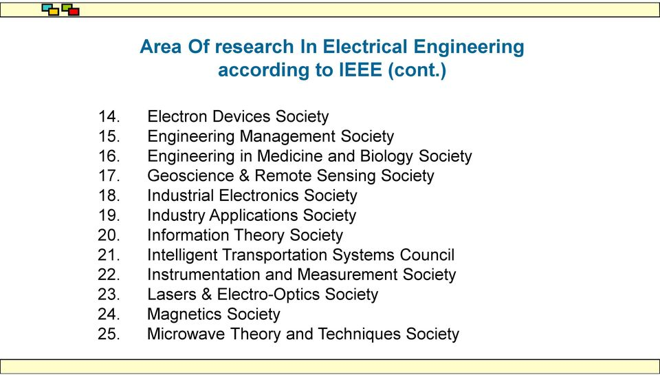 Industrial Electronics Society 19. Industry Applications Society 20. Information Theory Society 21.