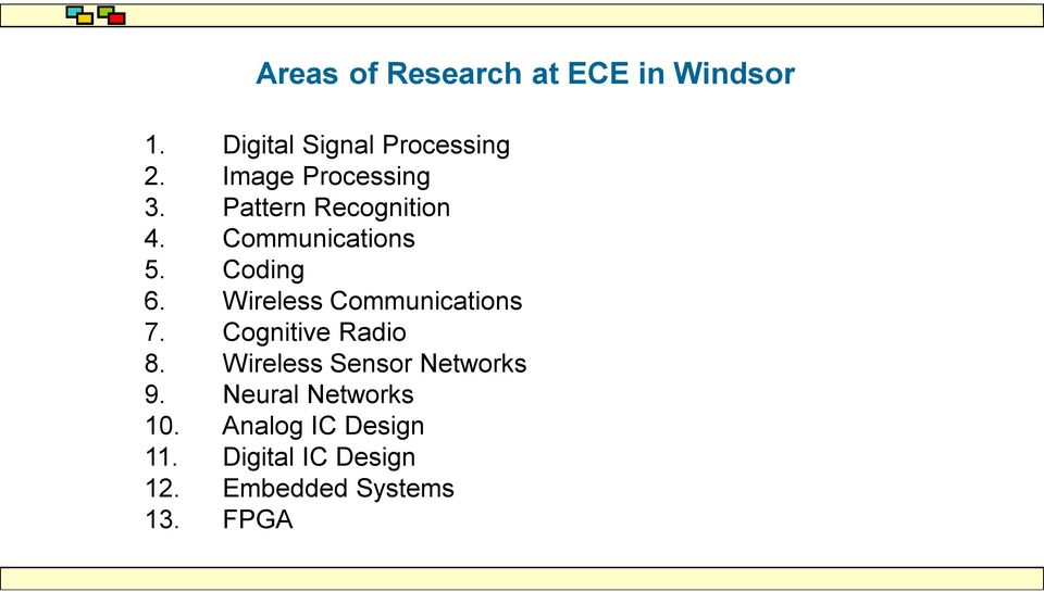 Wireless Communications 7. Cognitive Radio 8. Wireless Sensor Networks 9.
