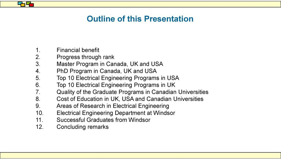 Top 10 Electrical Engineering Programs in UK 7. Quality of the Graduate Programs in Canadian Universities 8.