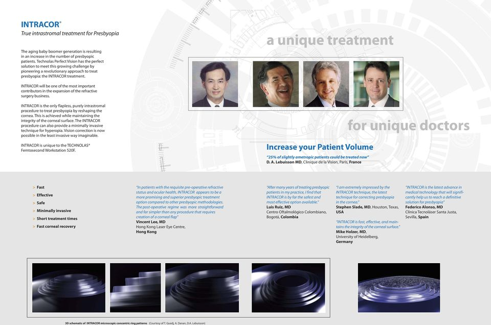 a unique treatment INTRACOR will be one of the most important contributors in the expansion of the refractive surgery business.