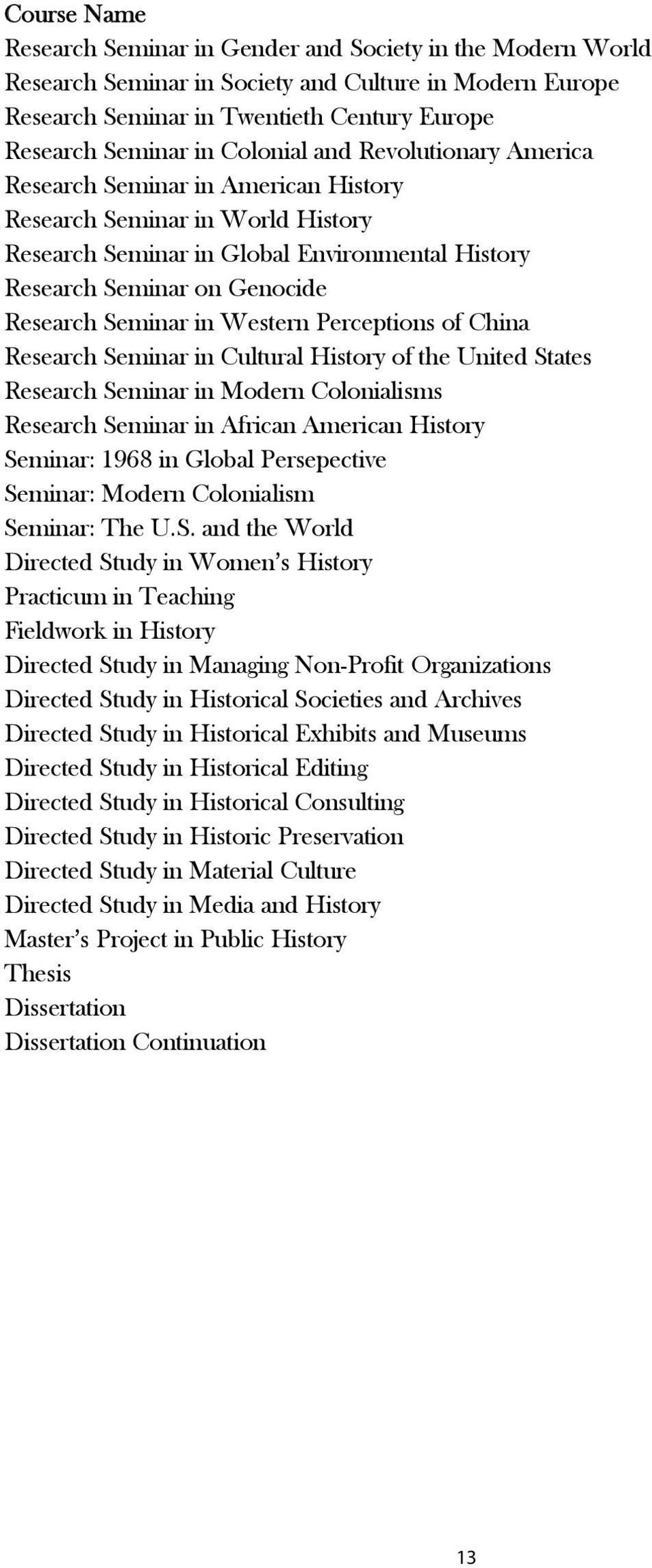 Seminar in Western Perceptions of China Research Seminar in Cultural History of the United States Research Seminar in Modern Colonialisms Research Seminar in African American History Seminar: 1968 in