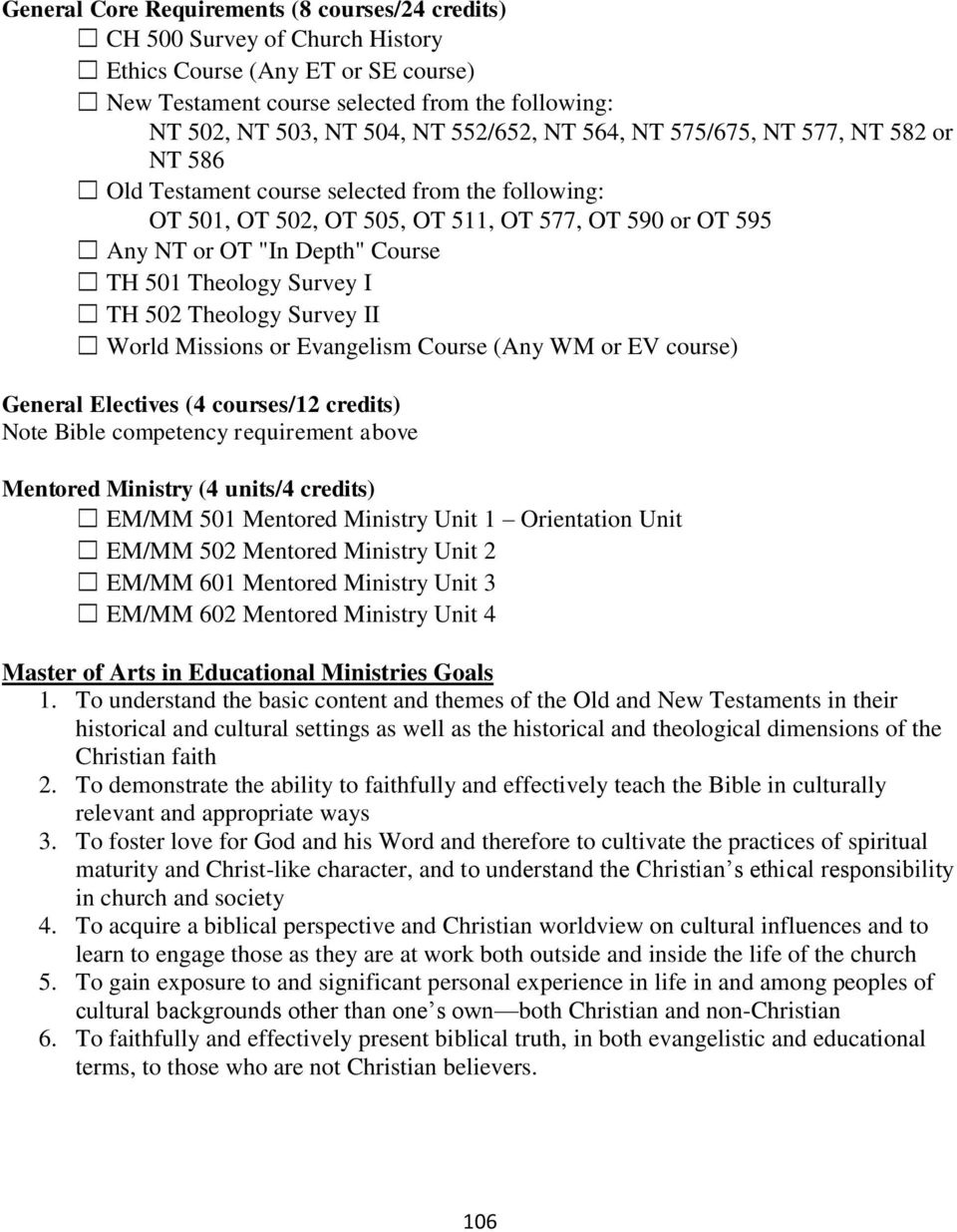 Theology Survey I TH 502 Theology Survey II World Missions or Evangelism Course (Any WM or EV course) General Electives (4 courses/12 credits) Note Bible competency requirement above Mentored