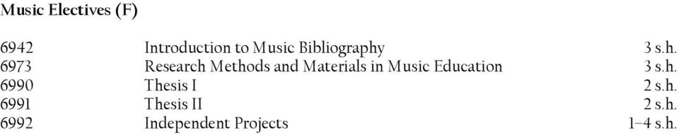 Materials in Music Education 6990 Thesis I 2 s.